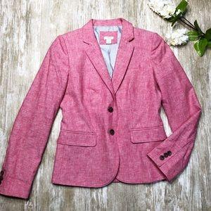 J. CREW Pink School Boy Linen Blazer Jacket G2497